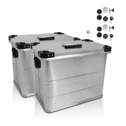 Maletas laterales aluminio 2 x 45L + Kit de montaje para portamaletas de16mm
