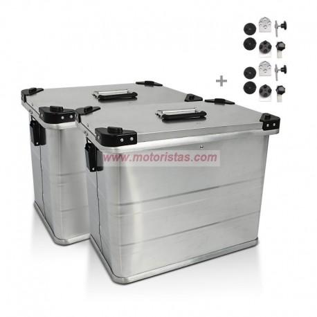Maletas laterales aluminio 2 x 34L + Kit de montaje para portamaletas de 16mm