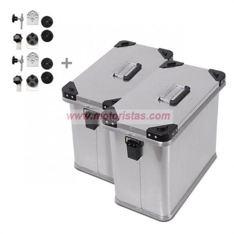 Maletas laterales aluminio 2 x 34L + Kit de montaje para portamaletas de 18mm
