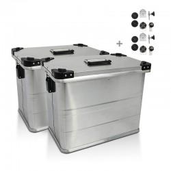 Maletas laterales aluminio 2 x 45L + Kit de montaje para portamaletas de18mm