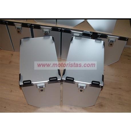 Maletas laterales aluminio Premium 2 x 36L + Kit de montaje para portamaletas de 16mm