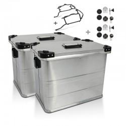 Kit 2 maletas Alu laterales de 45L + portamaletas