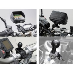 Kit universal de soportes del GPS Navi Case Pro M. Para manillares Ø 22, 28 mm, 1 pulgada.